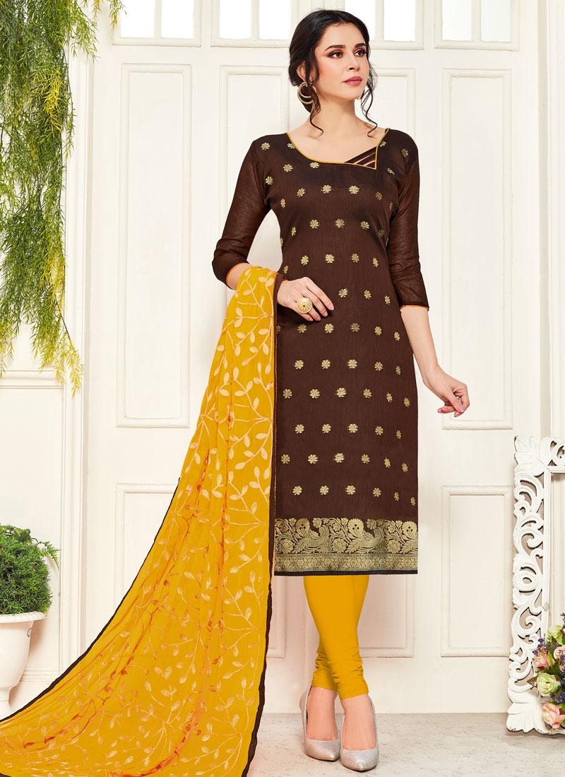 Woven Work Art Silk Trendy Churidar Suit