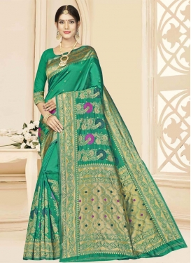 Woven Work Art Silk Trendy Classic Saree For Casual