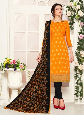 Woven Work Banarasi Silk Black and Mustard Trendy Churidar Salwar Suit