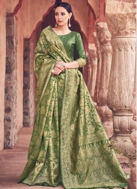 Woven Work Banarasi Silk Contemporary Style Saree For Ceremonial