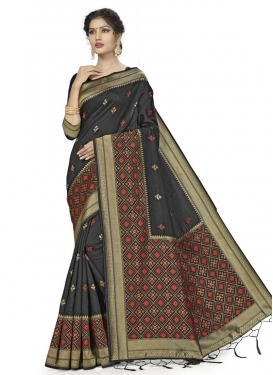 Woven Work Banarasi Silk Designer Contemporary Saree For Casual