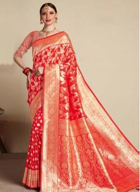 Woven Work Banarasi Silk Designer Contemporary Style Saree