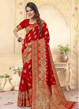 Woven Work Banarasi Silk Designer Contemporary Style Saree