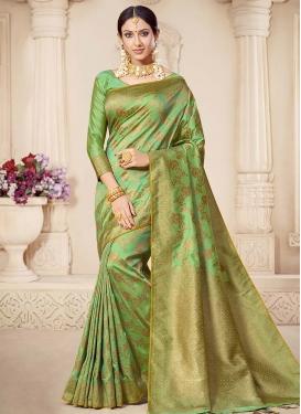Woven Work Banarasi Silk Designer Contemporary Style Saree For Festival