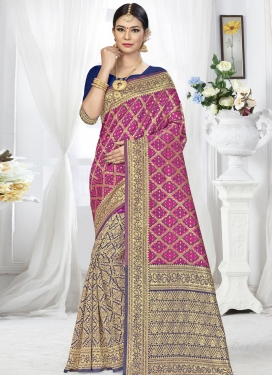 Woven Work Banarasi Silk Magenta and Navy Blue Traditional Designer Saree