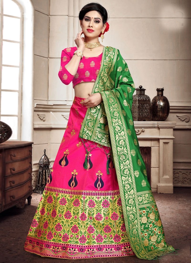 Woven Work Banarasi Silk Trendy A Line Lehenga Choli