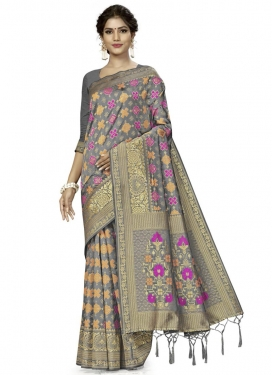 Woven Work Banarasi Silk Trendy Classic Saree