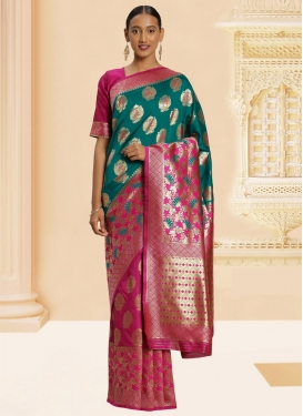 Woven Work Banarasi Silk Trendy Classic Saree For Casual