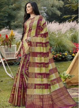 Woven Work Beige and Crimson Designer Traditional Saree