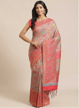 Woven Work Beige and Hot Pink  Trendy Classic Saree