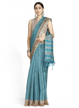 Woven Work Beige and Light Blue Designer Contemporary Saree