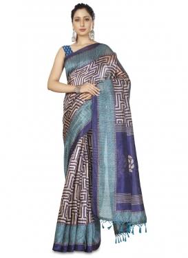 Woven Work Beige and Navy Blue Designer Contemporary Saree