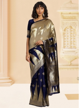 Woven Work Beige and Navy Blue  Traditional Designer Saree