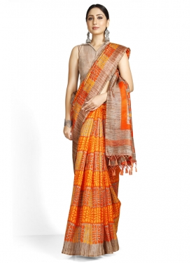 Woven Work Beige and Orange Contemporary Style Saree