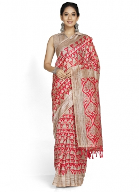 Woven Work Beige and Red Contemporary Style Saree