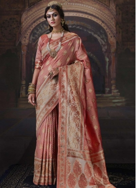 Woven Work Beige and Salmon Designer Traditional Saree
