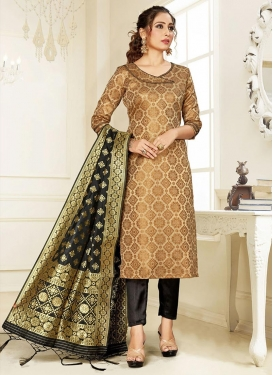 Woven Work Black and Brown Pant Style Salwar Kameez