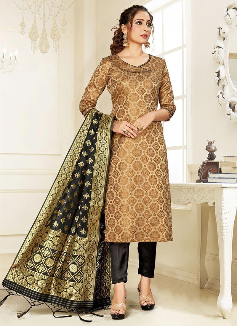 Woven Work Black and Brown Pant Style Salwar Kameez