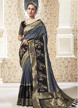 Woven Work Black and Grey Designer Contemporary Saree