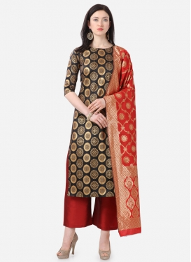 Woven Work Black and Red Cotton Silk Palazzo Style Pakistani Salwar Kameez