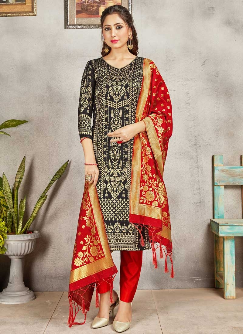 Woven Work Black and Red Pant Style Salwar Suit