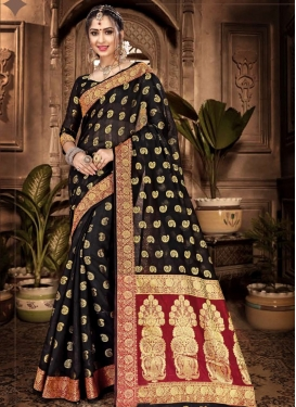 Woven Work Black and Red Traditional Designer Saree
