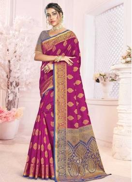 Woven Work Blue and Magenta Traditional Designer Saree