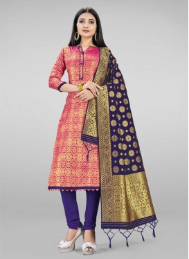 Woven Work Blue and Rose Pink Churidar Salwar Kameez