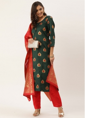 Woven Work Bottle Green and Red Jacquard Pant Style Classic Suit