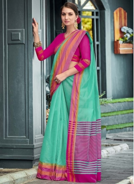 Woven Work Chanderi Cotton Designer Contemporary Style Saree For Casual