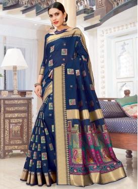 Woven Work Chanderi Cotton Trendy Classic Saree For Ceremonial