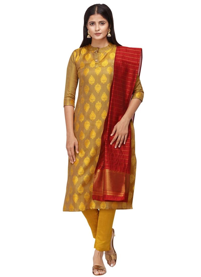 Woven Work Cotton Pant Style Pakistani Salwar Suit