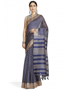 Woven Work Cotton Silk Beige and Navy Blue Trendy Classic Saree