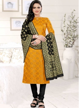 Woven Work Cotton Silk Black and Mustard Trendy Churidar Salwar Kameez