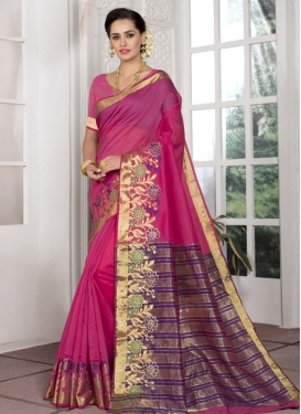 Woven Work Cotton Silk Contemporary Style Saree For Casual