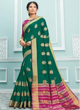 Woven Work Cotton Silk Designer Contemporary Saree
