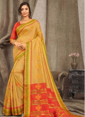 Woven Work Cotton Silk Designer Contemporary Style Saree