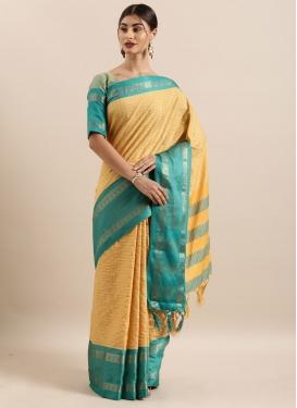 Woven Work Cotton Silk Designer Contemporary Style Saree