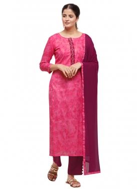 Woven Work Cotton Silk Fuchsia and Rose Pink Pant Style Pakistani Salwar Kameez