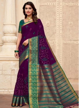Woven Work Cotton Silk Purple and Teal Designer Contemporary Saree