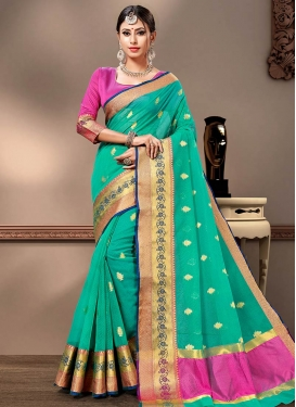 Woven Work Cotton Silk Rose Pink and Sea Green Designer Traditional Saree