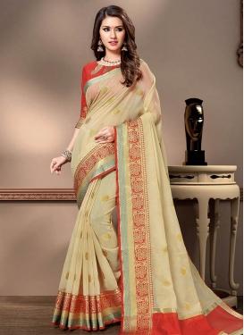 Woven Work Cotton Silk Traditional Designer Saree For Ceremonial