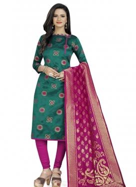 Woven Work Cotton Silk Trendy Churidar Suit