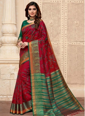 Woven Work Cotton Silk Trendy Classic Saree For Casual