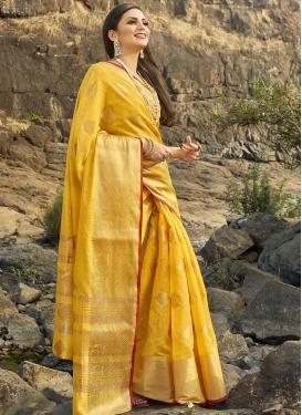 Woven Work Cotton Silk Trendy Designer Saree For Ceremonial