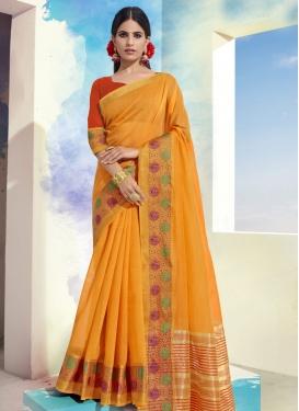 Woven Work Cotton Trendy Classic Saree