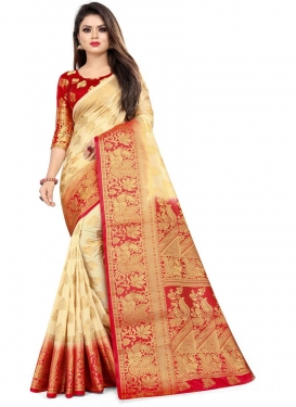 Woven Work Cream and Red Designer Contemporary Style Saree