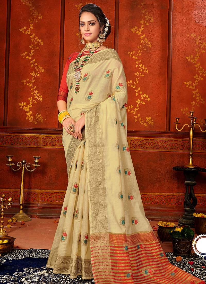 Woven Work Cream and Red Designer Traditional Saree
