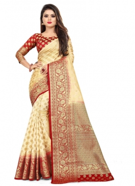 Woven Work Cream and Red Traditional Designer Saree