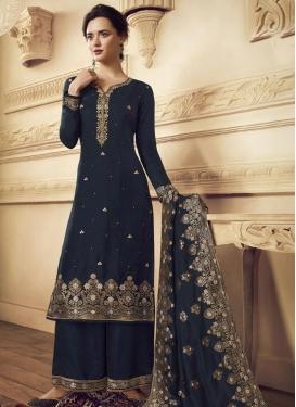 Woven Work Crepe Silk Palazzo Style Pakistani Salwar Kameez